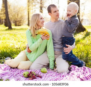 happy young family having a picnic in the park on a summer day (focus on the woman)