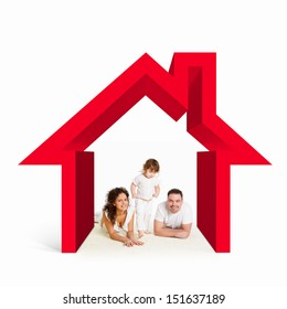 Happy young family in house. Mortgage concept