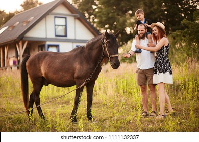 Happy young family with a little son stands with a horse before a little country house