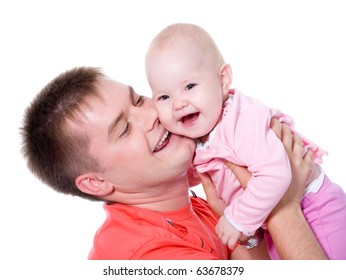 Happy young father with attractive smile holding his baby on white background