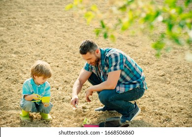 Happy young father planting a tree while his little son helping him. Father and son gardening in garden