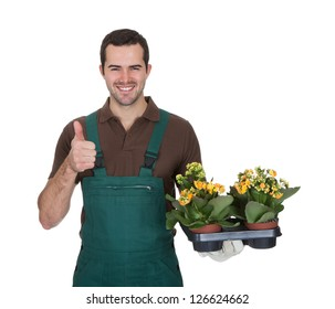 Happy young gardener holding flowers. Isolated on white