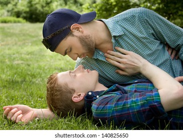 Happy Young Gay Couple Outside