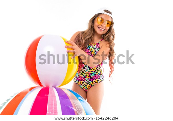 Bathing in suit young farm girl — img 1