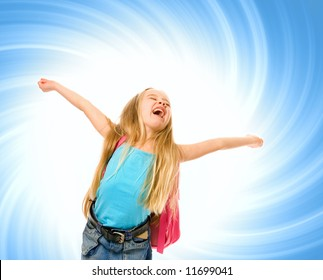 Happy young girl with a pink backpack over abstract blue background