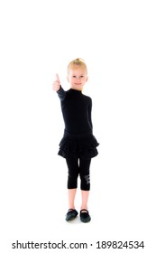 Happy Young girl Showing Thumb Up Sign Isolated On White Background