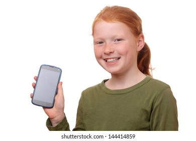 Happy young girl shows her new smartphone