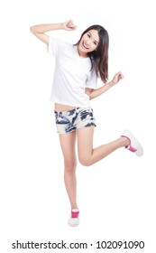 Happy young Girl smile in full length with white blank T-Shirt and blue jeans isolated on white background, model is a asian woman