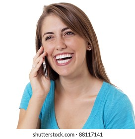 happy young girl talking on a cell phone and smiling