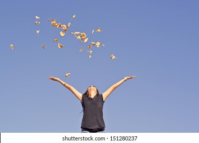 happy young girl who leaves the air