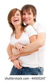 Happy young good looking couple . Laughing