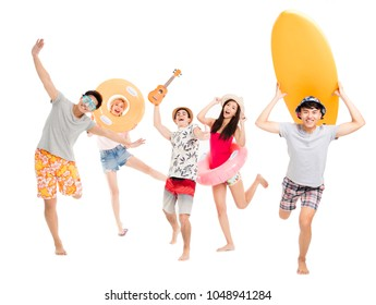 happy young group enjoy summer vacation concept