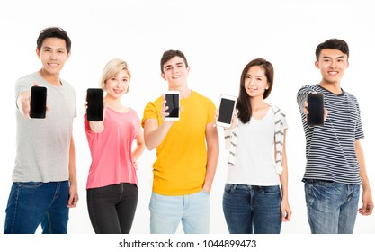 happy young group showing their own smart phone
