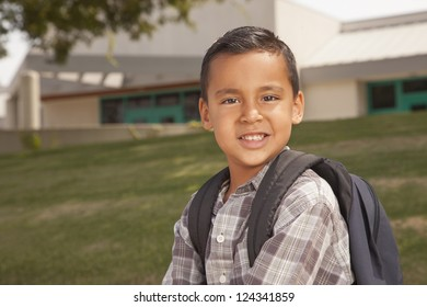 Happy Young Hispanic Boy with Backpack Ready for School.