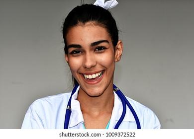 Happy Young Hispanic Female Doctor