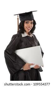 Happy Young Hispanic Graduate Student Holding Laptop on White Background