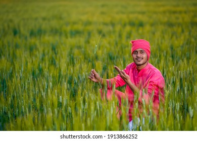 Happy young indian farmer at green wheat field