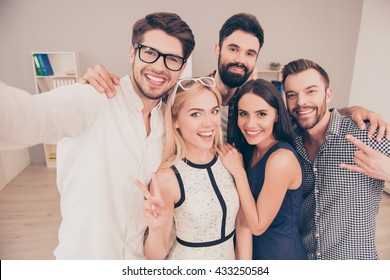 happy young joyful  group of businesspeople  make selfie photo and smiling