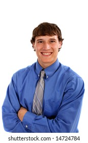 Happy Young Man with Blue Shirt and Tie on Isolated Background
