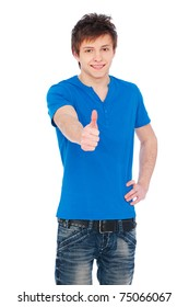 happy young man in blue t-shirt showing thumbs up