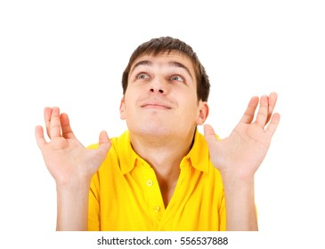 Happy Young Man crossing his Fingers Isolated on the White Background