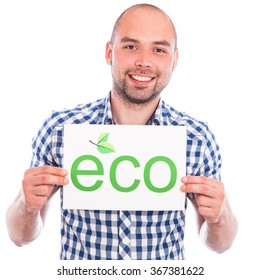 Happy young man with eco sign against the white