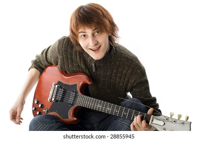 Happy Young Man with electric guitar