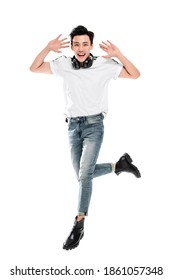 A Happy young man jump