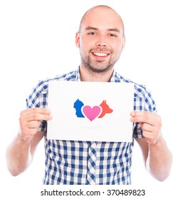 Happy young man with love animals sign