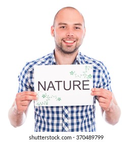 Happy young man with nature sign against the white