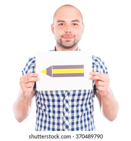 Happy young man with pencil sign against the white