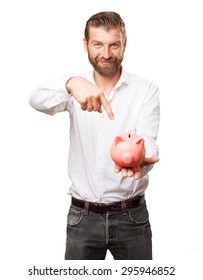 happy young man with piggy bank
