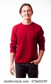 Happy young man. Portrait of handsome young smile while standing against white background