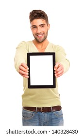 Happy young man presenting your product in a tablet computer