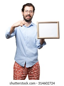 happy young man with retro frame