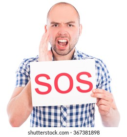 Happy young man with Sos sign against the white