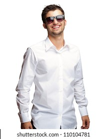 Happy Young Man Wearing Glasses On White Background