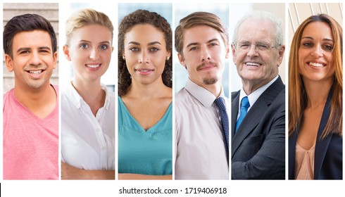 Happy young and mature entrepreneurs portrait set. Smiling men and women of different races and ages wearing formal suits multiple shot collage. Positive human emotions concept