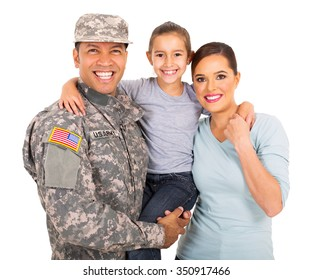 happy young military family of three on white background