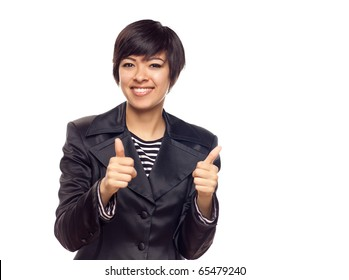 Happy Young Mixed Race Woman With Two Thumbs Up Isolated on a White Background.