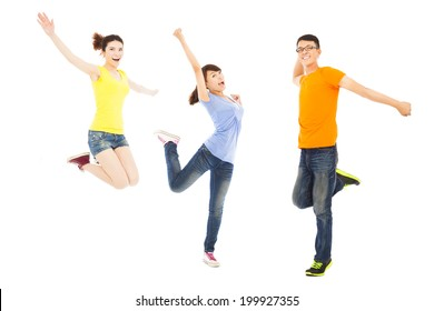 happy young people dancing and jumping