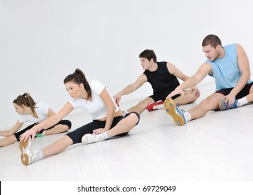 happy young people group in exercise and relax in fitness club