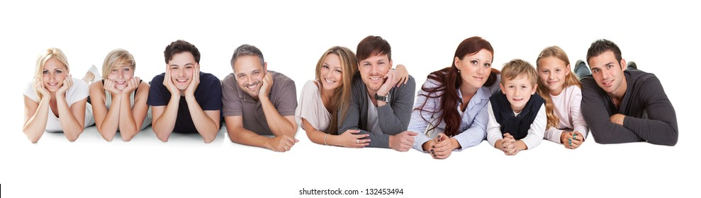 Happy young people lying on white background