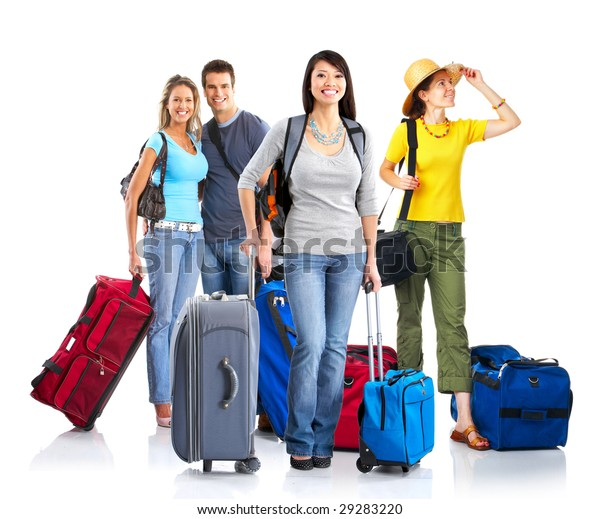Happy young people tourists. Isolated over white background