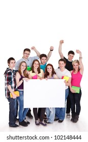 Happy young people with white board