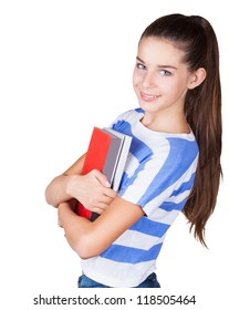 Happy young positive student with book isolated on white background