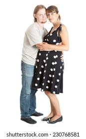 happy young pregnant woman and her husband