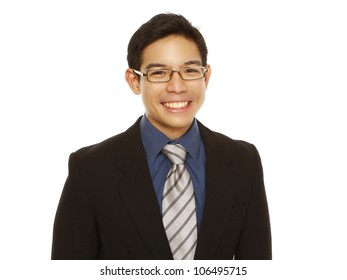 A happy young professional with a big smile (isolated on white)