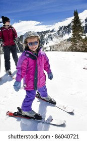 Happy Young Skier Learning to Ski
