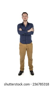 Happy young student man posing against a white background